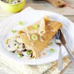 crepes med champignonfyld af cashewpålæg | Biogan