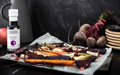 Ovngrøntsager med trøffelolie