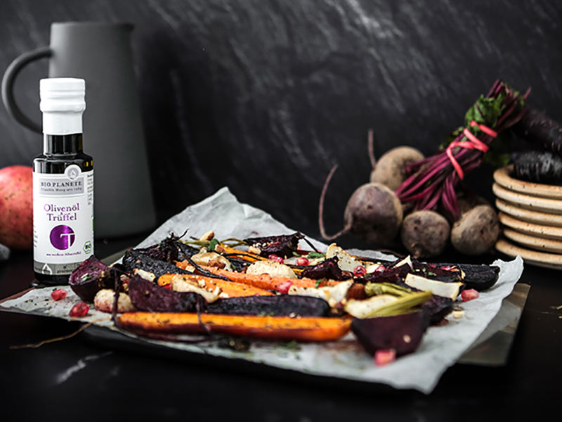 Ovngrøntsager med trøffelolie | Biogan