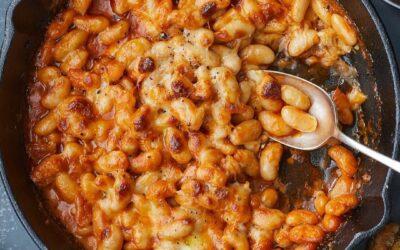 Bagte Sira bønner m/ost & tomat