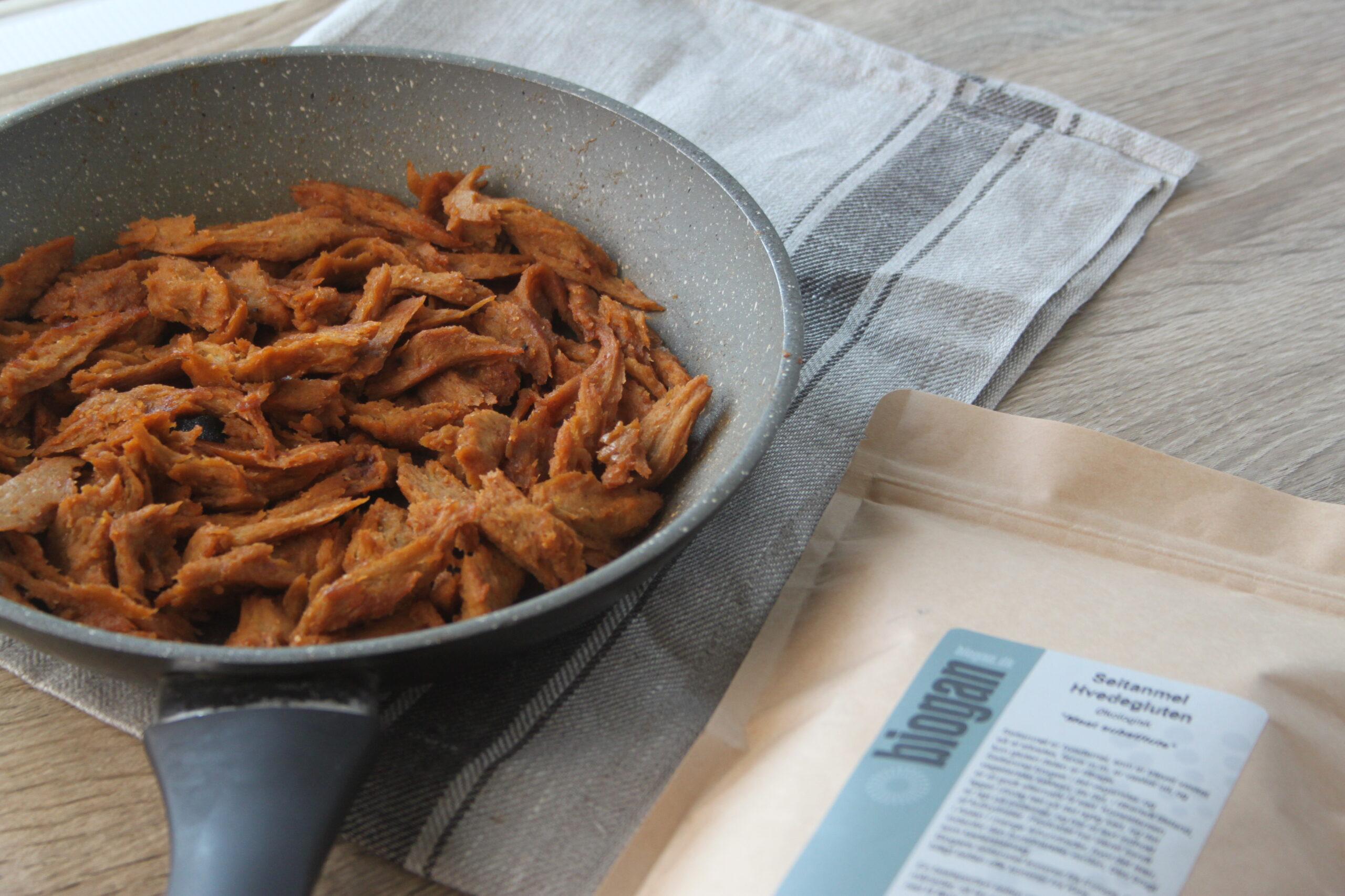 Pulled seitan (vegansk kylling)